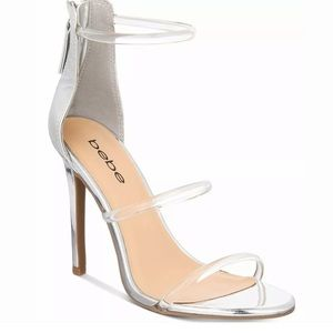 New Bebe Silver Clear Ankle Straps Heel